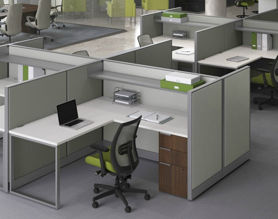 Cubicles set up in a office.